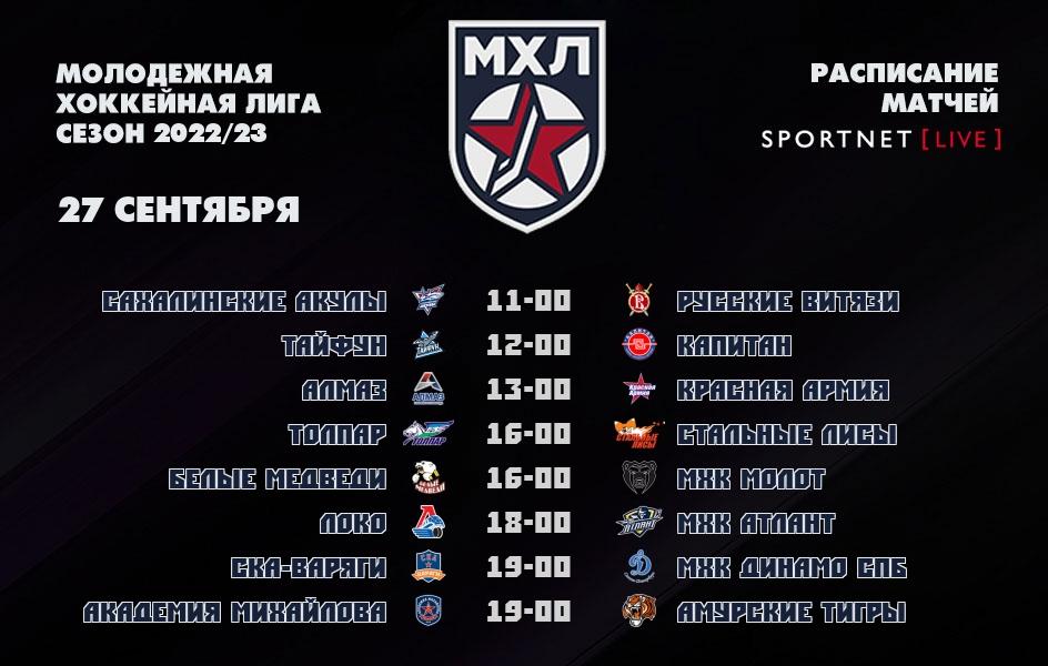 27 сентября, смотреть онлайн матчи МХЛ